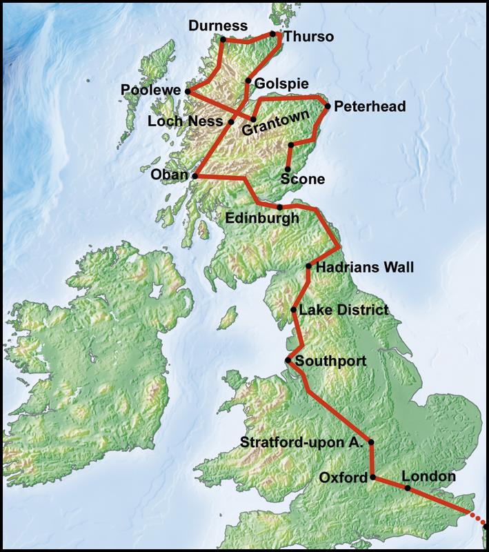 Schottland Karte Highlands.Route 32 England Schottische Highlands Mir Tours Services Gmbh